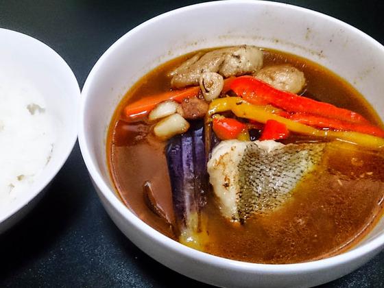頂いた釣っタラでスープカレー 2